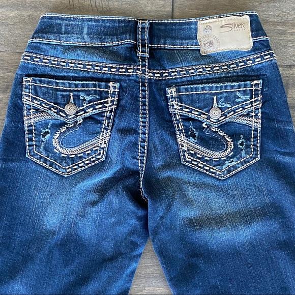 Silver AIKO Mid Boot Jeans Fluid Denim Sz 26 x 33
